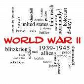 picture of mussolini  - World War II Word Cloud Concept in red caps with great terms such as guns axis allies victory and more - JPG