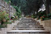 Stairs to the church of Mary Magdalene, Jerusalem, Israel