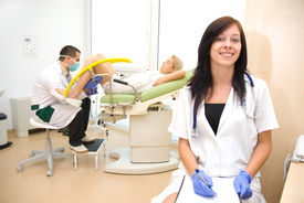 image of gynecological exam  - A gynecological examination - JPG