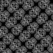 image of day dead skull  - Day of the Dead skull tile repeating pattern - JPG