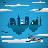 stock photo of float-plane  - Abstract colorful background with a floating city with wind turbines - JPG