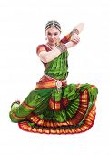 stock photo of bharatanatyam  - Bollywood dancer in green and orange folded dress posing as cobra - JPG