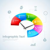 pic of partition  - illustration of Business Infographics Pie Chart options with pointer for presentation and promotion - JPG