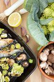 picture of romanesco  - Sardines with romanesco broccoli leek and shitake mushrooms - JPG