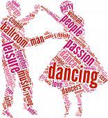 picture of waltzing  - couple dancing vector tag cloud illustration on a white background - JPG
