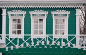 foto of woodcarving  - Green wall of the ancient house - JPG