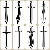 picture of saber  - Set of 8 Sword Icons and Signs - JPG
