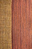 Texture Rosewood With Hessian , Rural Style Of Wooden Background