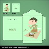 stock photo of hari  - Vector Muslim Boy Praying Hari Raya Ramadan Money Green Packet Design - JPG