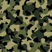 stock photo of camouflage  - An all purpose camouflage pattern in beige green and black for use as a background - JPG
