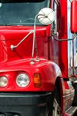 stock photo of 18 wheeler  - Front end of a semi truck while parked - JPG