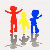 picture of people icon  - colored kids silhouettes - JPG