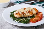 foto of white asparagus  - grilled chicken fillet with asparagus and sauce on a white plate horizontal - JPG