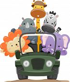 Постер, плакат: Illustration Featuring Cute Safari Animals on a Road Trip