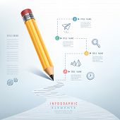 stock photo of pencils  - creative infographics template with pencil puzzle and education icons - JPG
