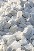 pic of sandbag  - Big pile of sandbags for disaster protection - JPG