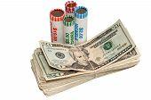 foto of twenty dollars  - Stack of American twenty dollar bills and rolls of USA coins - JPG