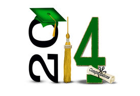 stock photo of tassels  - Green graduation cap with gold tassel and diploma on white for class of 2014 - JPG