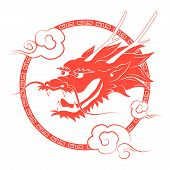 pic of dragon head  - Traditional Chinese red dragon head with clouds - JPG