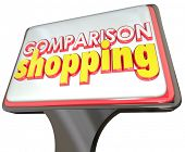 pic of clientele  - Comparison Shopping 3d words on a store sign luring customers to come in and compare prices - JPG