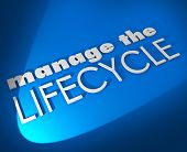 image of clientele  - Manage the Lifecycle 3d words on blue background to illustrate need to oversee development and processing of sales leads - JPG