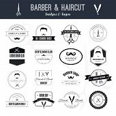 picture of barber  - Perfect set of barber and haircut logos - JPG