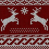 stock photo of rudolph  - vector Christmas Background of Norwegian Knitting Patterns - JPG