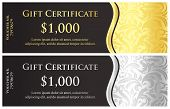 foto of classic art  - Classical black gift certificate with victorian decorative pattern - JPG