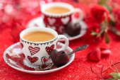 foto of valentine candy  - Cups of coffee and roses for Valentine - JPG