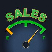 stock photo of indications  - Sales Gauge Indicating Meter Consumerism And Indicator - JPG