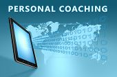 stock photo of self assessment  - Personal Coaching illustration with tablet computer on blue background - JPG