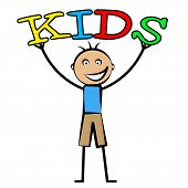 picture of youngster  - Kids Word Representing Youngsters Toddlers And Son - JPG