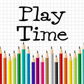 stock photo of youngster  - Play Time Pencils Showing Youths Youngster And Stationery - JPG