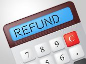 stock photo of reimbursement  - Refund Calculator Showing Discount Remuneration And Rebate - JPG