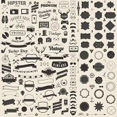 image of decorative  - Huge set of vintage styled design hipster icons - JPG