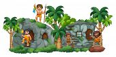 pic of cave woman  - Cave family hanging out around their rock home - JPG