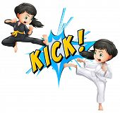 stock photo of martial arts girl  - Girls kicking with flash on white - JPG