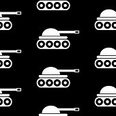 stock photo of panzer  - Panzer symbol seamless pattern on black background - JPG