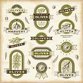 image of olive shaped  - Vintage olive labels set - JPG