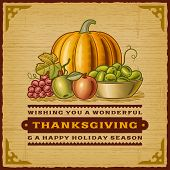 stock photo of thanksgiving  - Vintage Thanksgiving Card - JPG