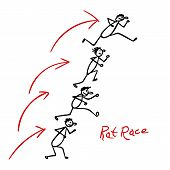stock photo of rats  - Sketch with people running over each other heads in rat race - JPG