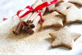 pic of christmas cookie  - Christmas baking gingerbread cookies food background closeup - JPG