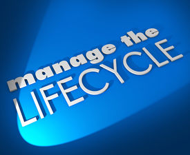 stock photo of clientele  - Manage the Lifecycle 3d words on blue background to illustrate need to oversee development and processing of sales leads - JPG