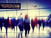 stock photo of hustle  - Business People Walking Rushing Flying Airport Concept - JPG