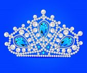 image of tiara  - illustration crown tiara women with glittering precious stones - JPG