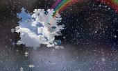 pic of fall day  - Puzzle pieces fall from night sky revealing day with rainbow - JPG
