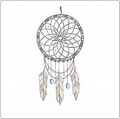 stock photo of dreamcatcher  - Indian tribal dreamcatcher amulet in pastel color on white backgraund - JPG