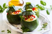 image of zucchini  - Round zucchini stuffed with vegetables and rice - JPG