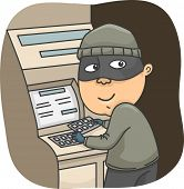 pic of felon  - Illustration of a Thief Installing a Card Skimmer on an ATM  - JPG