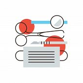pic of scalpel  - Thin line icon with flat design element of surgical instruments medical clinic equipment doctors surgeon tool patient treatment sharp scalpel - JPG